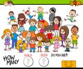 Counting girls and boys educational activity Royalty Free Stock Photo