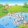 Counting number one to ten with boy and monkey. Royalty Free Stock Photo