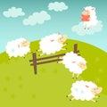 Counting sheep. Cartoon happy sheep for baby. Cartoon character sheep on meadow