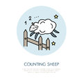 Counting sheep illustration. Modern vector line icon of jumping sheep. Insomnia linear logo. Outline symbol for sleep problem Royalty Free Stock Photo