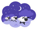 Counting sheep in the night background in a dream bubble isolate Royalty Free Stock Photo