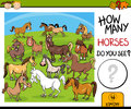 Counting task with horses cartoon