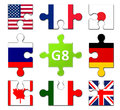 Countries members of the g group graphic with Stock Image