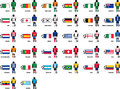 Countries playing the brazil soccer world cup this is a set with and their jerseys Stock Images