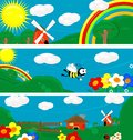 Country banners three fun cartoon picture can be use as backgrounds vector Royalty Free Stock Images