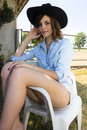 Country beautiful model posing in style Stock Photo