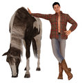 Country boy and horse handsome young man in faded blue jeans plaid shirt cowboy boots with his Stock Photography