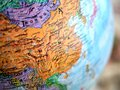 stock image of  Country of China focus macro shot on globe map for travel blogs, social media, website banners and backgrounds.