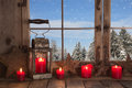 Country Christmas decoration: wooden window decorated with red c Royalty Free Stock Photo