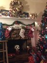 Country christmas decorations style with everything my son made through the years up till age Stock Photo