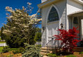 Country church doorway spring Royalty Free Stock Photo
