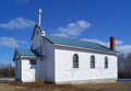 Country church little in northern alberta canada Royalty Free Stock Photography