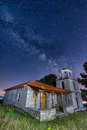 Country church and the milky way Royalty Free Stock Photo