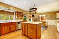 Country farm large kitchen interior american house with fall views room with hardwood floor island and breakfast area Royalty Free Stock Photos