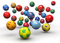 Country flag soccer balls d illustration Royalty Free Stock Photography