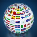 Country flags around the globe on blue background. 3D illustration Royalty Free Stock Photo