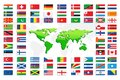 Country Flags with World Map Stock Images