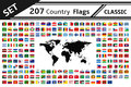 207 country flags and world map