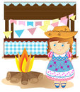 Country girl cute cartoon on party Royalty Free Stock Images
