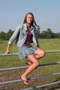Country Girl On Fence Stock Image