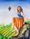 Country girl and vineyard Royalty Free Stock Photo