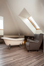 Country home - bath and chair Royalty Free Stock Photo