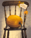 Country house chair style with large pumpkin for thanksgiving Stock Photo
