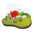 Country house in rural landscape isolated Stock Photo