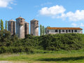 Country house with storage silos italy Royalty Free Stock Photography