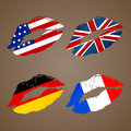 Country kiss german french usa uk lips Stock Photos