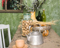 Country kitchen with green walls and wood table, Royalty Free Stock Photo