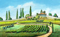 Country landscape italian original digital painting Stock Images