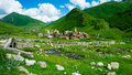 Country landscape in svaneti ushguli georgia Royalty Free Stock Photography