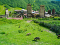 Country landscape in svaneti ushguli georgia Royalty Free Stock Photos