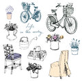 Country life flowers furniture interior element set of and subjects bikes romantic picture Stock Photos