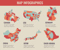 Country maps infographic template. USA, Japan, Canada, China, Germany, Saudi Arabia. Selectable territories. Vector