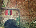 Country mill along dry river Royalty Free Stock Photo