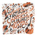 Country music festival retro poster vector template Royalty Free Stock Photo