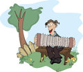 The country musician cartoon cheerful playing on accordion sitting on a bench Stock Image