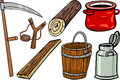 Country objects cartoon illustration set of retro and obsolete clip art Royalty Free Stock Images