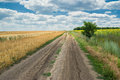 Country road between agricultural fields Stock Photo