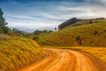 Country road in australia dirt and farmland the outer leongatha district victoria Stock Photography