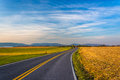 Country road and distant mountains in rural Frederick County, Ma Royalty Free Stock Photo