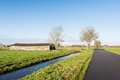Country road in a Dutch polder landscape