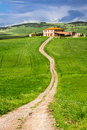 Country road leading to agrotourism tuscany italy Stock Images