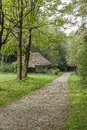 Country road in open-air museum Royalty Free Stock Photo