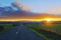Country road to Unza at sunset Royalty Free Stock Photo