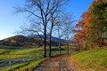Country road in virginia a small lane passes through farmland near the blue ridge mountains autumn Royalty Free Stock Photography