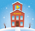 Country school house in winter Stock Photo