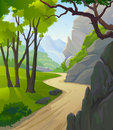 Country side   Hills and Lonely Pathway Royalty Free Stock Photo